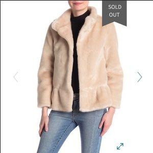 Kate Spade Faux Fur Champagne Jacket Size XL